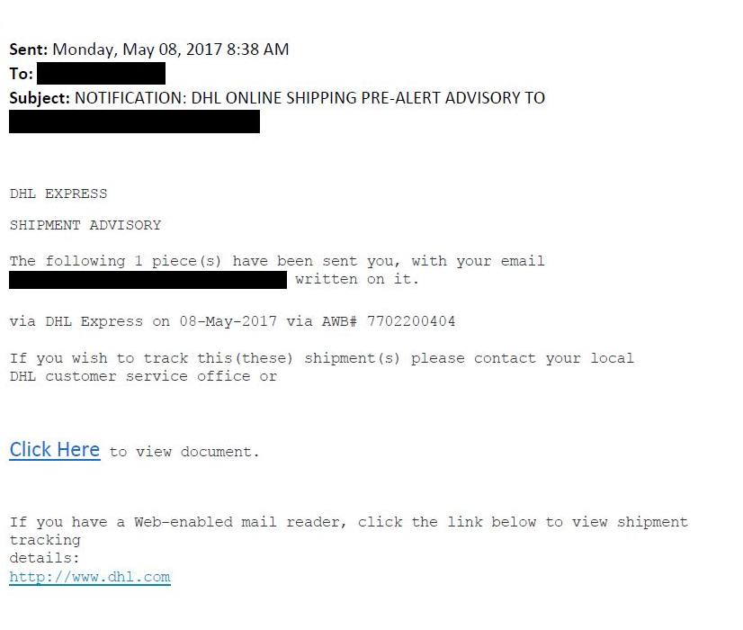 DHL spam email