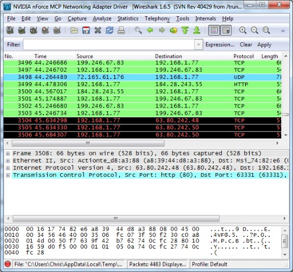 Wireshark boje