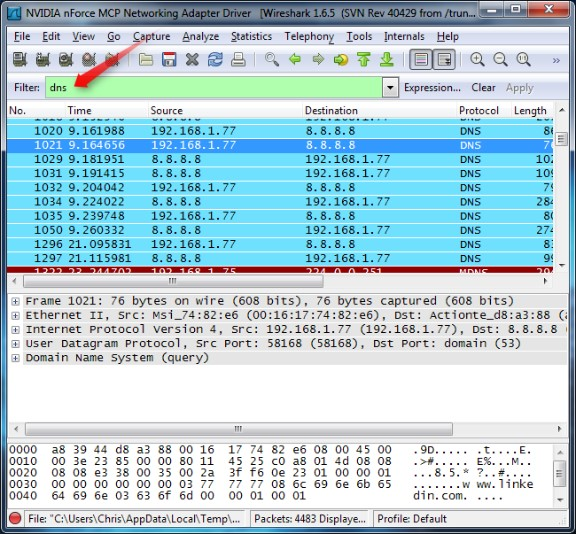 Wireshark filteri
