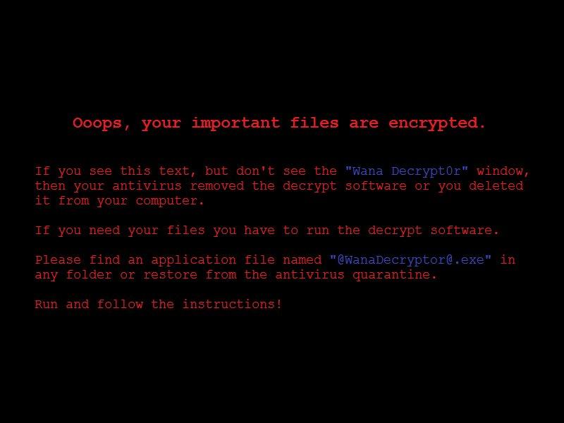 WanaCrypt ransom note